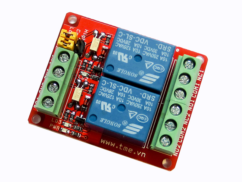 RLY-2-12V (2-Relay Module 12VDC 10A High/Low Level Control